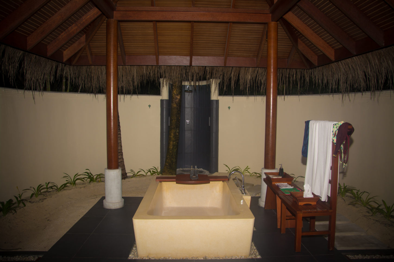Each villa at Anantara Dhigu has two outdoor showers