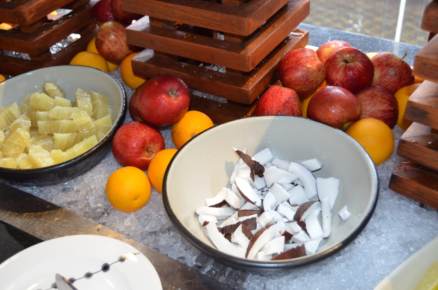 Dry coconut and fresh fruits at Fushi Cafe breakfast buffet