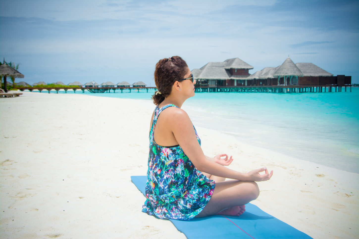 Meditation at the beach in the Maldives